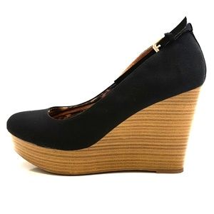 Black Lucy Round Toe Platform Ankle Strap Wedge